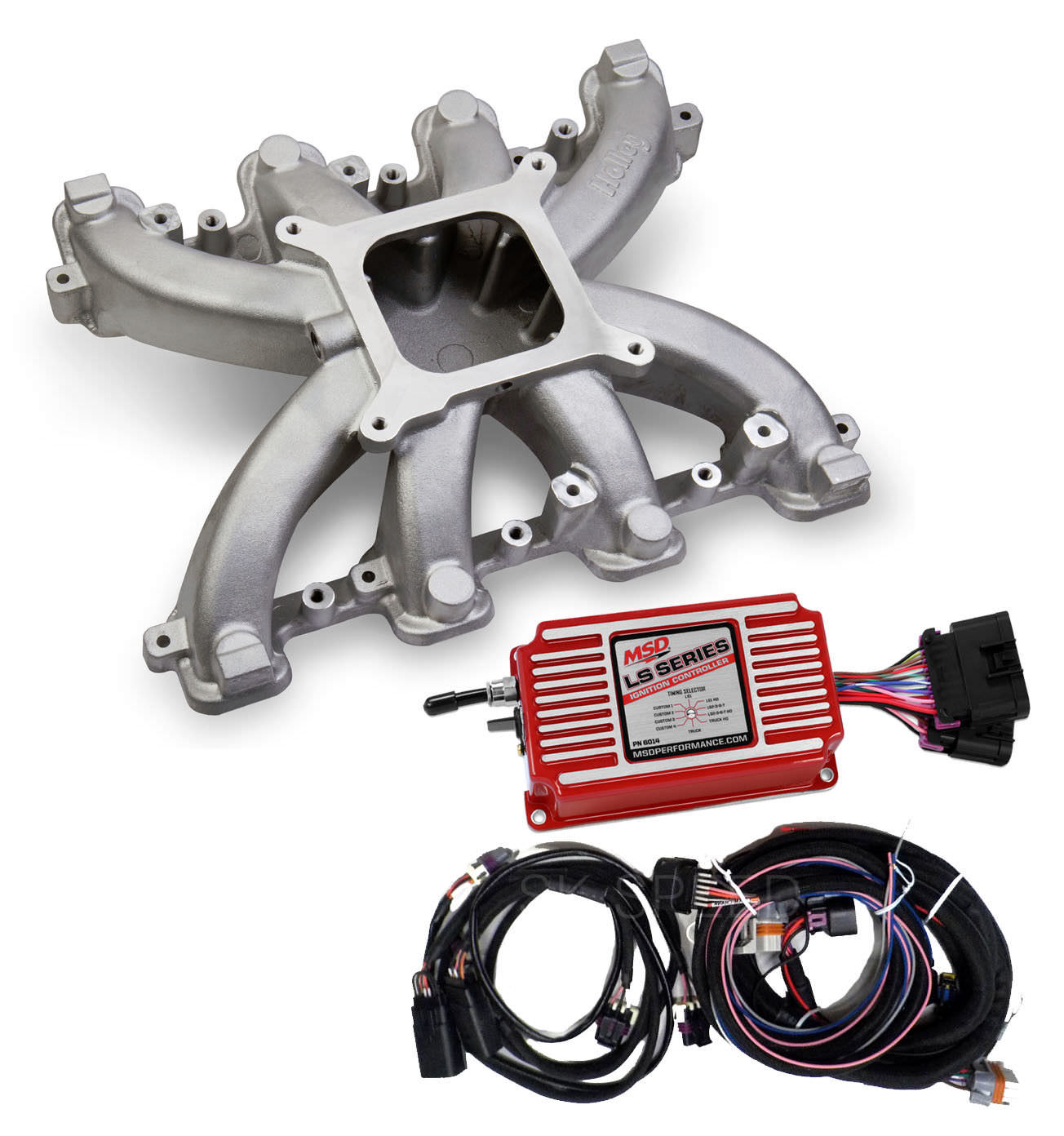LS3 Rectangle Port Carb Conversion-Holley 300-131 Single Plane Intake w/MSD  6014